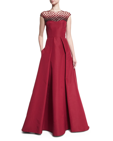 Pamella Roland Beaded-Yoke Cap-Sleeve Evening Gown, Red
