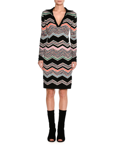 Missoni Collared Long-Sleeve Space-Dyed Zigzag Dress, Black