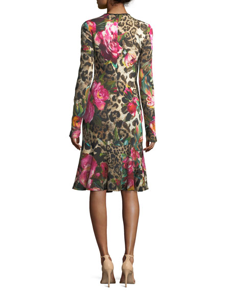 Long-Sleeve Floral & Leopard Print Dress, Black/Pink