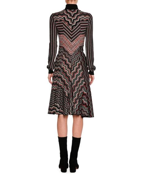 Patchwork Jacquard Turtleneck Sweater Dress, Red