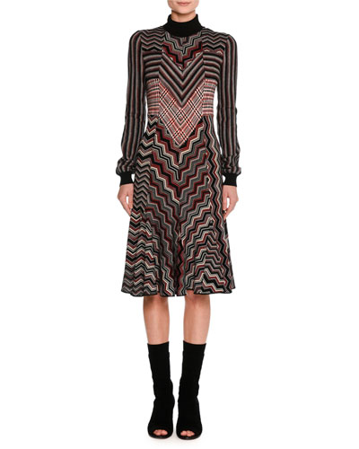 Patchwork Jacquard Turtleneck Sweater Dress, Red