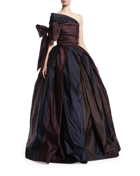 Naeem Khan One-Shoulder Ball Gown with Bow, Brown/Purple/Navy
