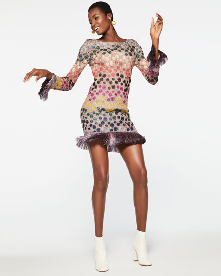 Long-Sleeve Lurex® Polka-Dot Shift Dress with Fringe, Multicolor