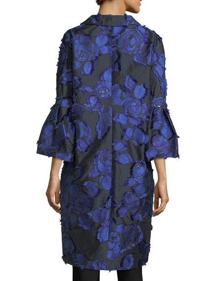 Floral Brocade Bell-Sleeve Coat