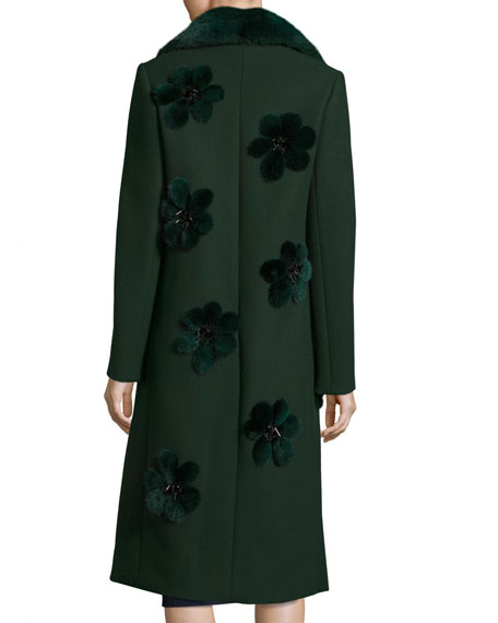 Long Coat with Mink Fur Flowers & Collar, Emerald