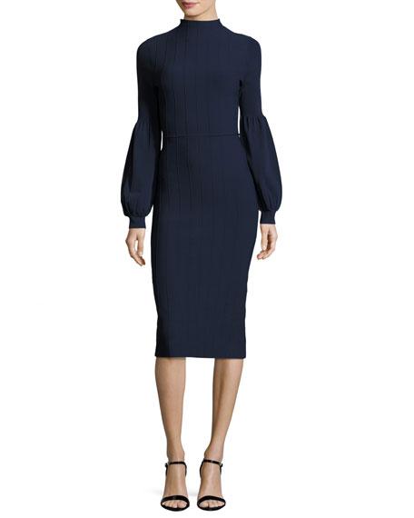Lela Rose Ottoman-Knit Full-Sleeve Sheath Dress, Navy