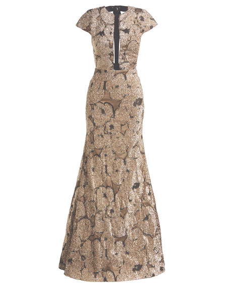 Lela Rose Metallic Tinsel Jacquard Tulle-Inset Column Gown with Detachable Brooch, Gold
