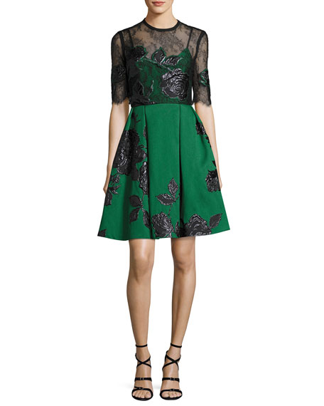 Elie Saab Floral Jacquard Cocktail Dress with Lace