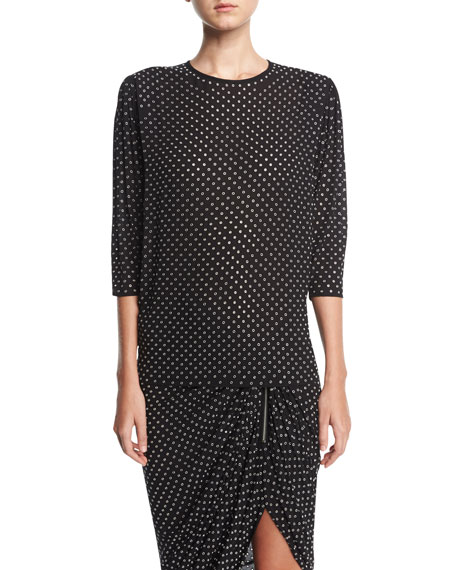 Michael Kors Collection Georgette Blouse with Grommets, Black