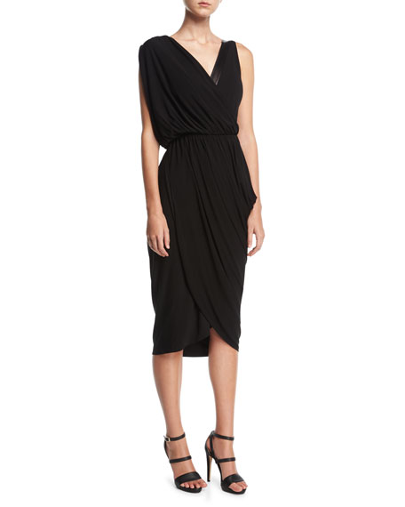 Asymmetric Drape Dress with Plongé Trim, Black
