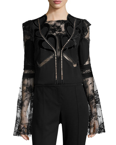 Elie Saab Lace & Crepe Bell-Sleeve Top with