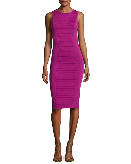 Armani Collezioni Piped Sleeveless Knit Sheath Dress, Pink