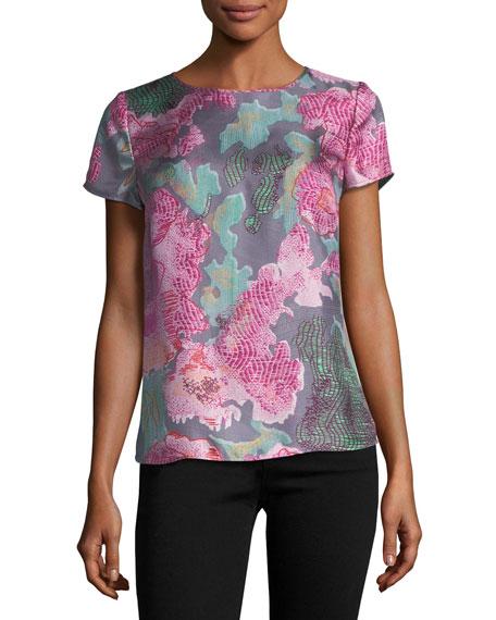 Armani Collezioni Floral Silk Cap-Sleeve Tee, Pink Multi