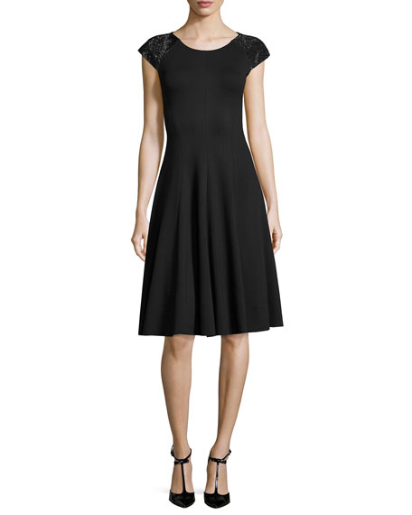 Milano Jersey Fit & Flare Dress with Embellished Cap Sleeves, Black