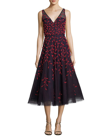 Embroidered Vine Sleeveless Cocktail Dress, Blue/Red