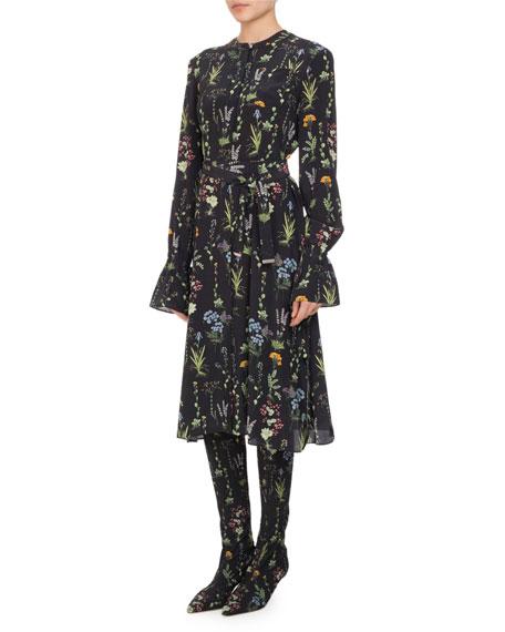 Leighton Floral-Print Ruffle-Cuff Dress, Multi