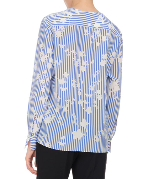 Carnegie Floral Striped Silk Tunic, Blue
