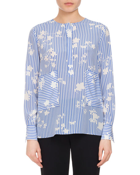 Altuzarra Carnegie Floral Striped Silk Tunic, Blue