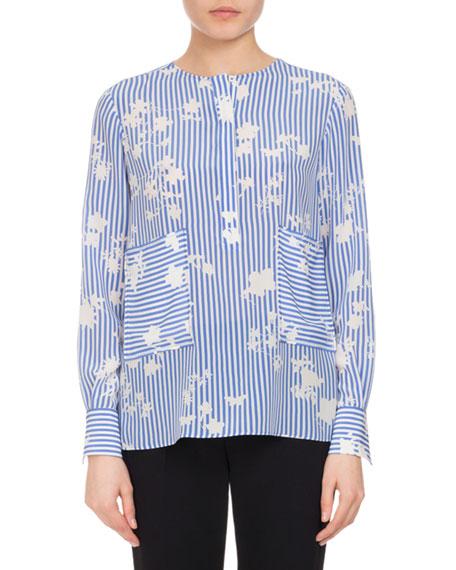 Altuzarra Carnegie Floral Striped Silk Tunic, Blue