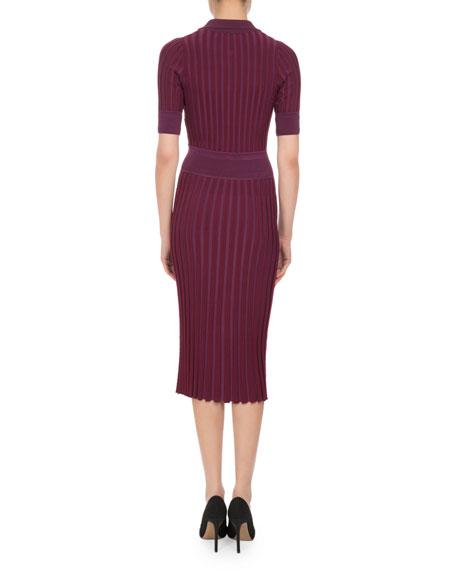Olivia Short-Sleeve Knit Polo Dress, Pink