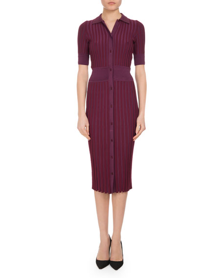 Altuzarra Olivia Short-Sleeve Knit Polo Dress, Pink