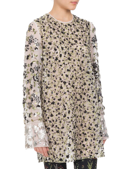 Altuzarra Pandora Sequined Floral-Embroidered Tunic, White and