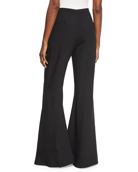 Flat-Front Flare-Leg Trousers, Black