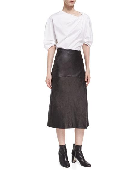 Lambskin Leather Midi Wrap Skirt, Black