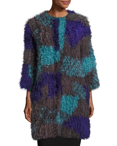 Armani Collezioni Colorblock Mongolian Lamb Fur Caban Coat,