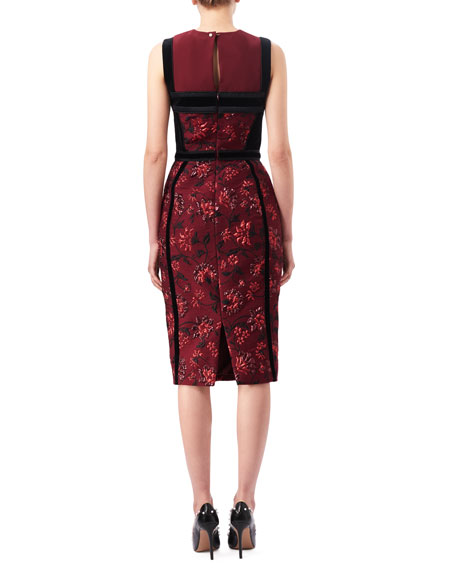 Lorenza Floral Jacquard Sheath Dress with Velvet Trim, Red