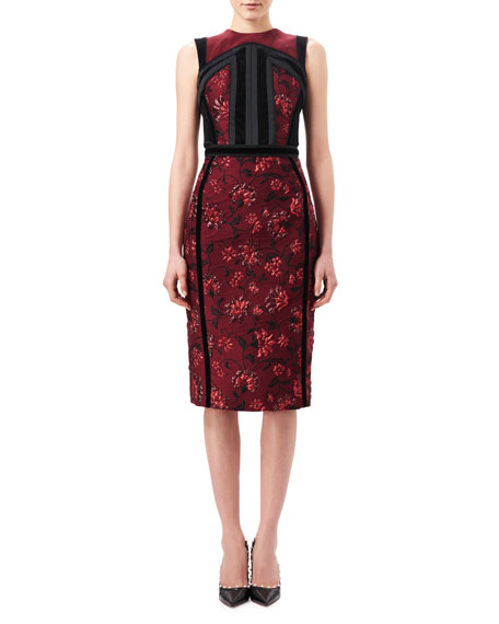 Altuzarra Lorenza Floral Jacquard Sheath Dress with Velvet