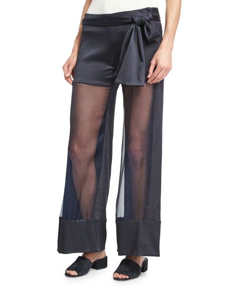 Lola Belted Sheer-Front Wide-Leg Pants, Navy