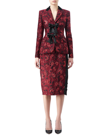 Sandrin Floral Jacquard Pencil Skirt, Red