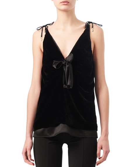 Altuzarra Gemme Velvet & Satin Tie-Shoulder Top, Black