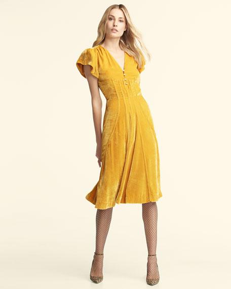 Camilla Cap-Sleeve Velvet Midi Dress, Yellow