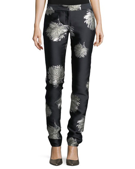 Prabal Gurung Classic Floral-Embroidered Straight-Leg Pants