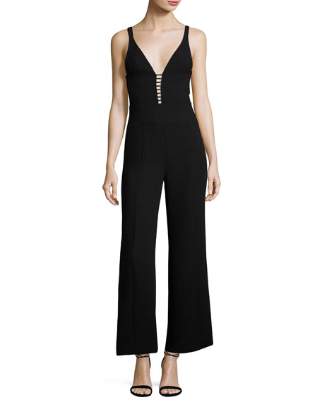 Sleeveless Wide-Leg Jumpsuit with Ladder Inset, Black
