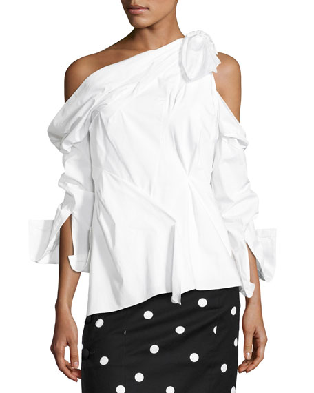 One-Shoulder Poplin Asymmetric Top, White