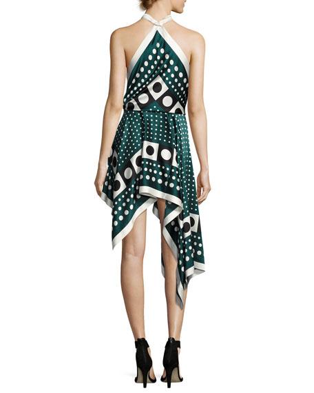 Dot-Print Silk Halter Dress, Green Pattern