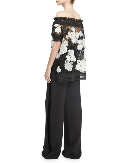 Two-Tone Off-the-Shoulder Floral Lace Top, Black/White