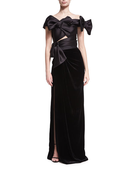 Satin & Velvet Off-the-Shoulder Gown with Bows, Black