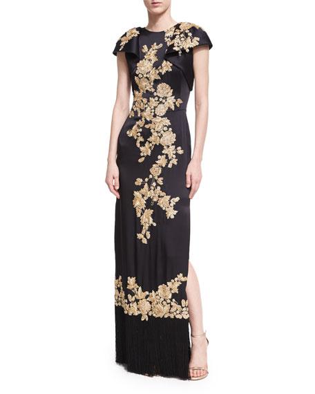Floral-Embroidered Column Gown with Fringe Hem, Black