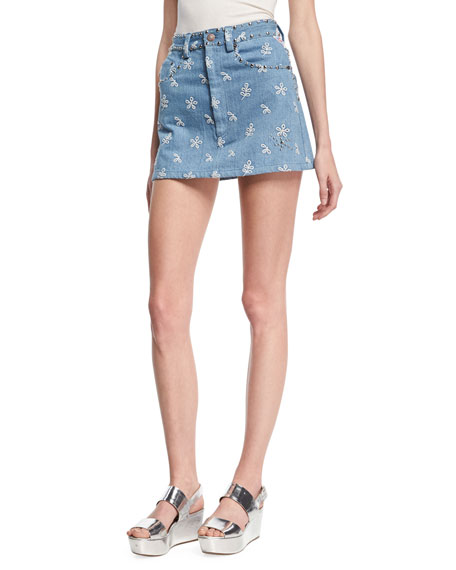 Marc Jacobs Floral-Embroidered Denim Miniskirt, Indigo
