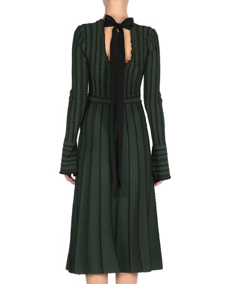 Long-Sleeve Tie-Back Knit Dress