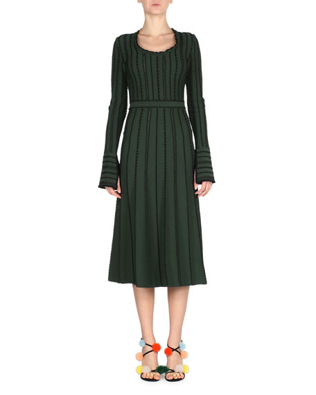 Fendi Long-Sleeve Tie-Back Knit Dress