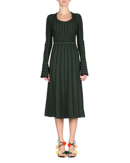 Fendi Long-Sleeve Tie-Back Knit Dress