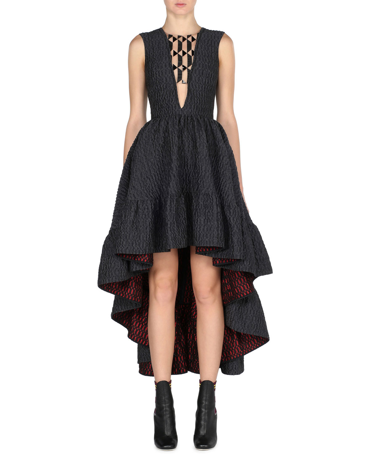bf4885b24a82 Fendi Sleeveless High-Low Jacquard Gown