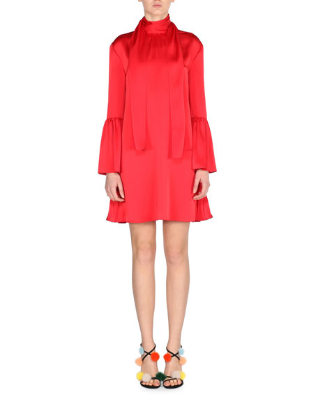Fendi Long-Sleeve Satin Tie-Neck Dress