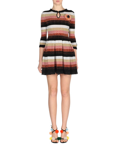 Fendi Metallic Striped-Knit Dress w/Fur Pompom