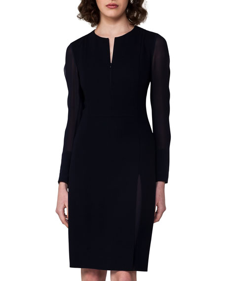 Split-Neck Zip-Front Dress